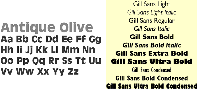 antique olive y gill sans