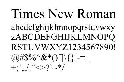 ejemplo tipografia romana Times New Roman