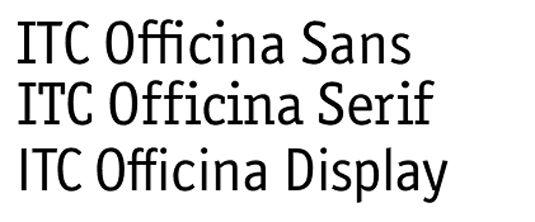 Familias de tipografia serial ITC officina