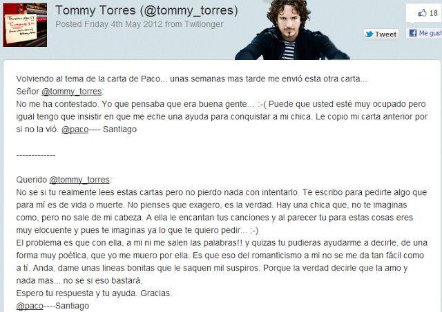 querido tommy_twitter de fan que se convierte en canción_ejemplo de autores que se adaptan a internet