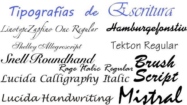 características de las tipografías de escritura