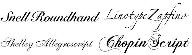 tipografías de escritura caligráfica formales