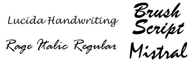 tipografías de escritura caligráfica informales