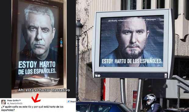 estoy harto de los españoles, ejemplo de factor narrativo y publicidad usando a la politica