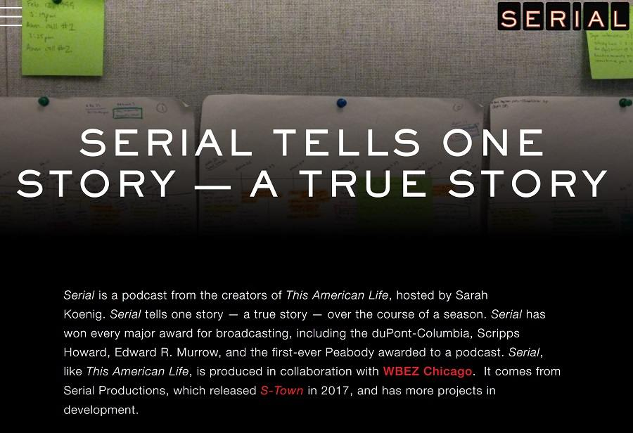 serial, podcast, book