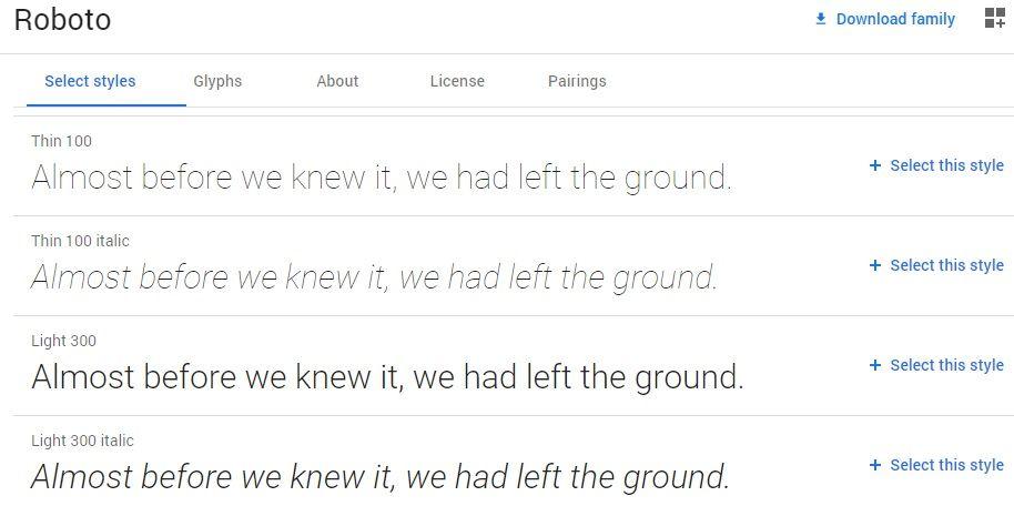 roboto, gratis, google font